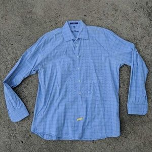 Alan Flusser Mens Button Front Shirt Blue Green XL